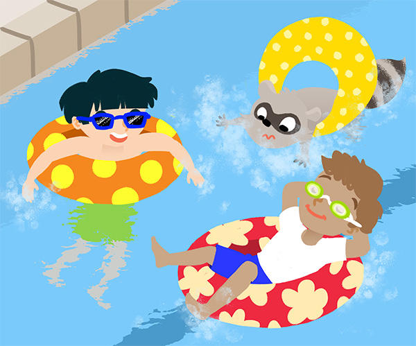 Boys Swimming illustration for Season Puzzles App