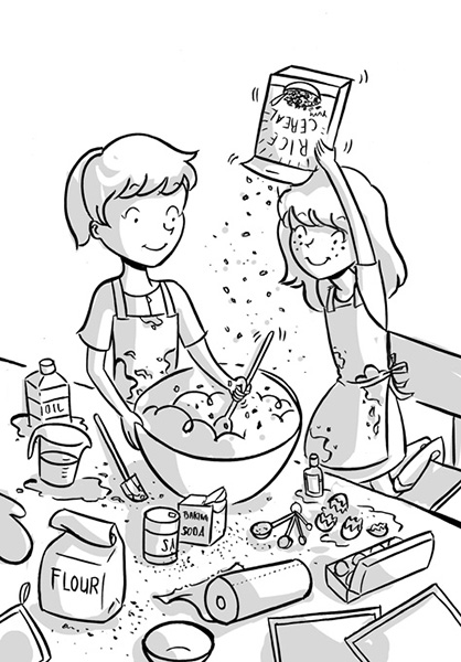 friends baking cookies tween illustration black and white