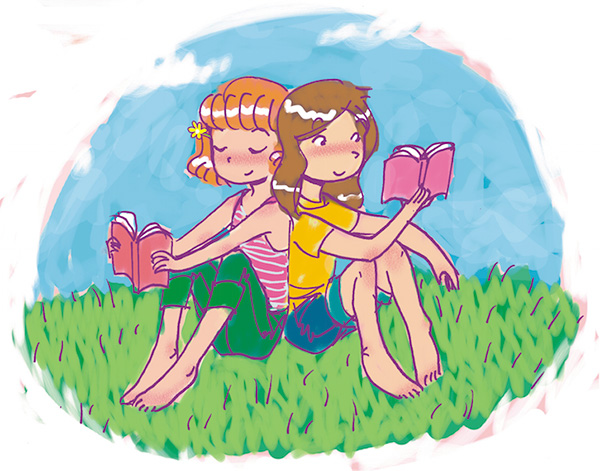 friends reading tween illustration friend 2 friend book