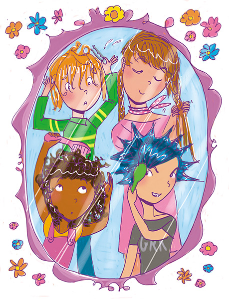 girl friends doing their hair tween illustration girls body book