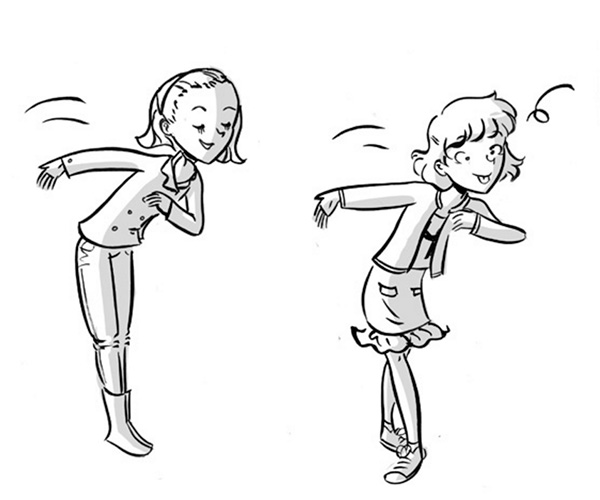 tween black and white illustration girls goofing off