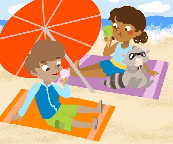 Ice Cream at the Beach illustration for Season Puzzles App