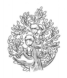 tween kids illustration black and white reading in a tree
