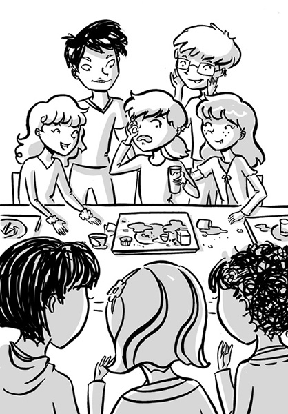 lunchroom tween illustration black and white illustration bet