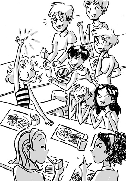 lunchroom tween illustration black and white illustration