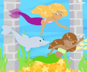 Mermaid Friends illustration for Mermaid Princess Puzzles App