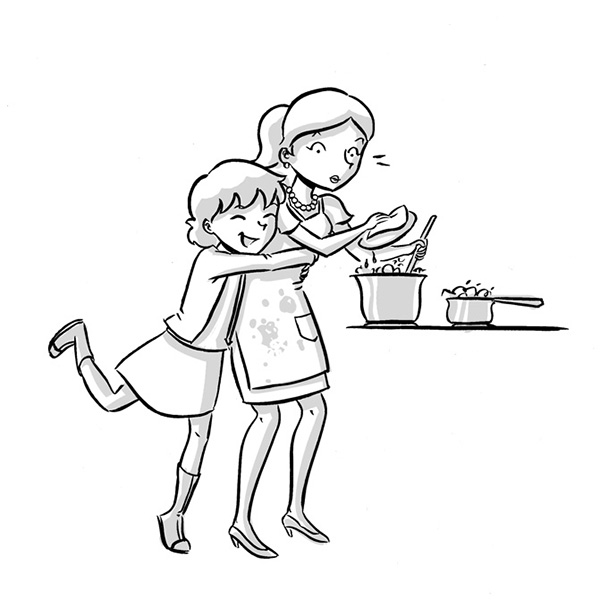 tween illustration black and white book mother daughter hug cooking