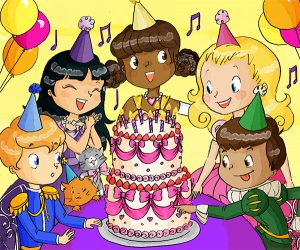 Birthday Cake illustration for Princess Birthday Party Puzzles App