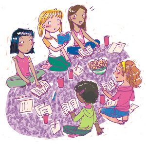 reading party tween illustration friend 2 friend book
