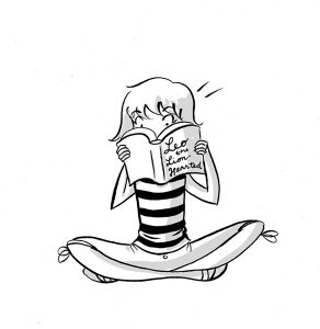 sophie reading black and white book illustration