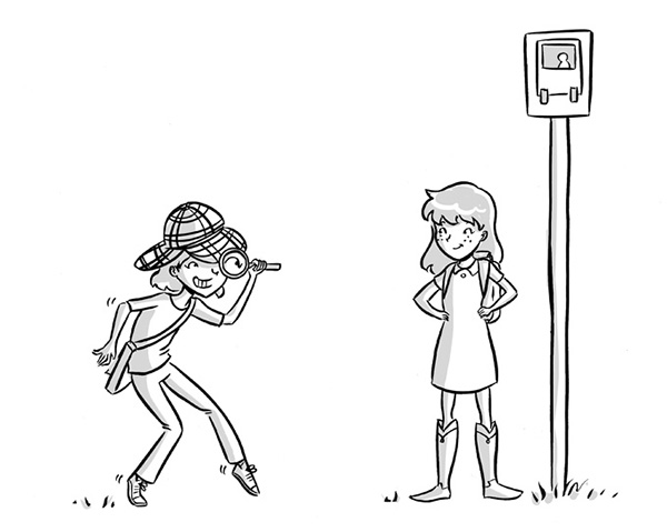 girl detective tween book illustration black and white