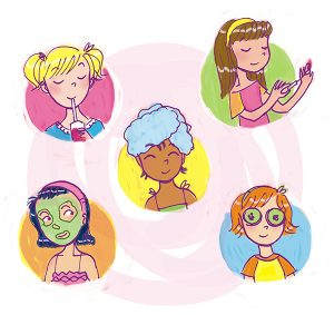spa night party tween illustration friend 2 friend book