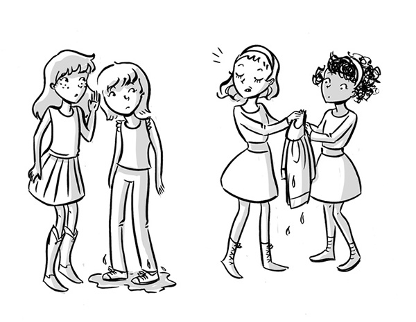 girls at school gossiping tween book illustration black and white